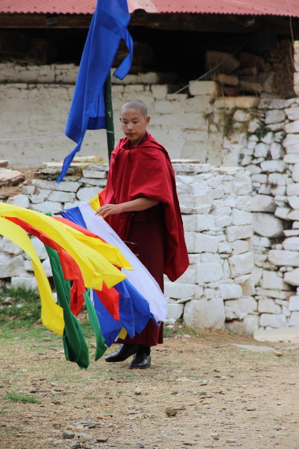 Monk with Prayer Flags, Bhutan | mitzitup.com