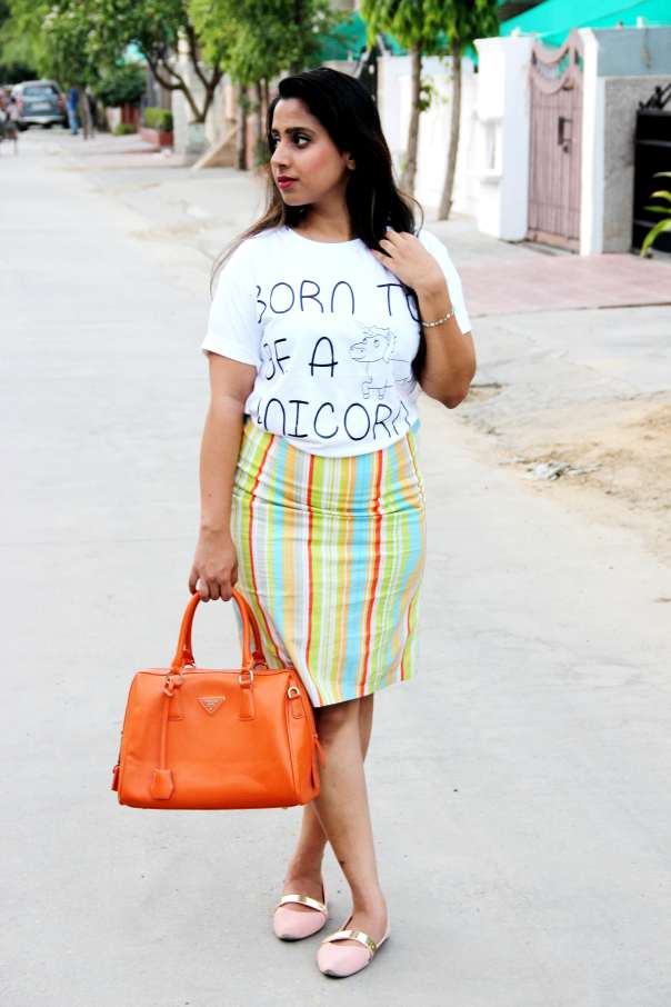 Unicorn Tee with Pencil Skirt| mitzitup.com