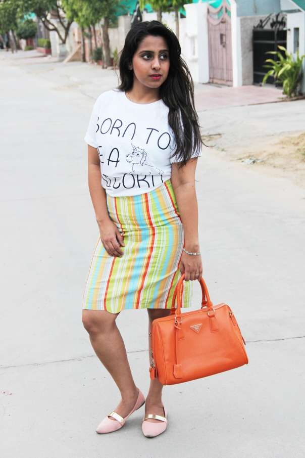 Unicorn Tee with Pencil Skirt| mitzitup.com