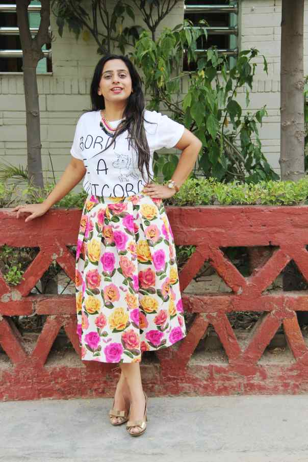 Unicorn Tee with a Floral Midi Skirt | mitzitup.com